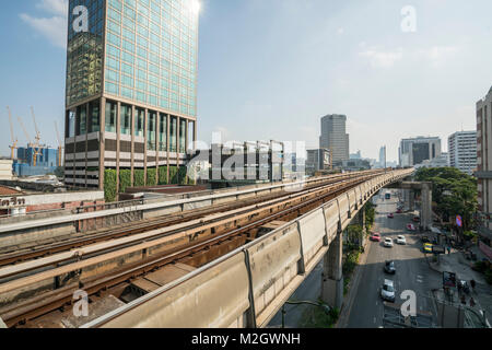 The aerial line of Skytrain in Bangkok, Thailand - Stock Photo