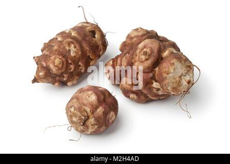 Fresh picked Jerusalem artichokes on white background - Stock Photo