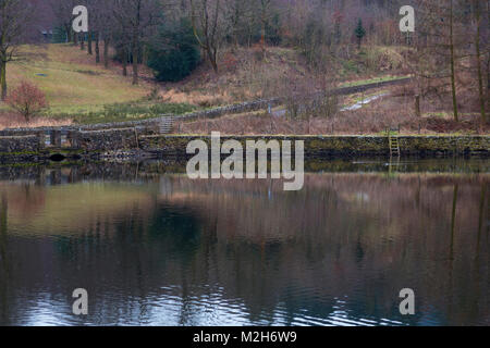 Ridgegate Reservoir in Macclesfield Forest on A Dank February Day - Stock Photo