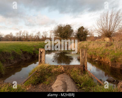 wet waterlogged country farm land stream eddy ; essex; england; uk - Stock Photo