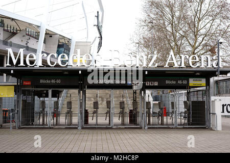 Stuttgart, Germany - February 03, 2018: The barred entrances to the Mercedes-Benz Arena at the Kaercher grandstand - Stock Photo