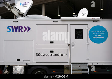 Stuttgart, Germany - February 03, 2018: The broadcasting station or the television trailer of the SWS Southwest - Stock Photo