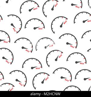 Max speed seamless pattern background icon. Flat vector illustration. Speedometer, tachometer sign symbol pattern. - Stock Photo