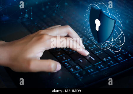 Press enter button on the keyboard computer Shield cyber Key lock security system abstract technology world digital - Stock Photo