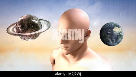 mans head and planets spheres in clouds - Stock Photo