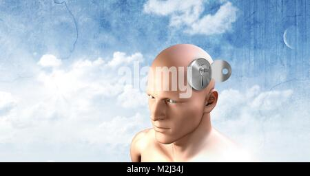 Key unlocking the surreal imagination of 3D mans head - Stock Photo