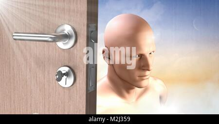 Door Key unlocking the surreal imagination of mans head - Stock Photo