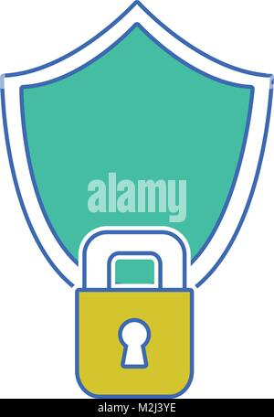 shield and padlock object to security protection - Stock Photo