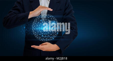 Earth polygon mesh planet World Map In the hands of a businessman network technology and communication Space input - Stock Photo