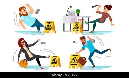 Caution Wet Floor Sign Vector. People Slips On Wet Floor. Situation In Office. Danger Sign. Clean Wet Floor. Isolated - Stock Photo