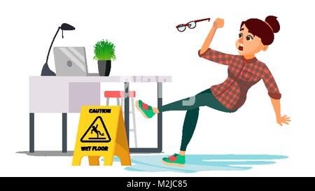 Woman Slips On Wet Floor Vector. Caution Sign. Isolated Flat Cartoon Character Illustration - Stock Photo