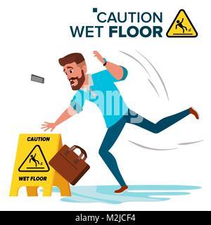 Man Slips On Wet Floor Vector. Caution Sign. Isolated Flat Cartoon Character Illustration - Stock Photo