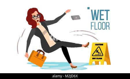 Woman Slips On Wet Floor Vector. Modern Business Woman In Office. Danger Situation. In Action. Clean Wet Floor. - Stock Photo