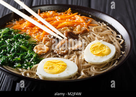 Soba noodles soup with vegetables, shiitake mushrooms, egg and sesame close-up in a bowl. Horizontal - Stock Photo