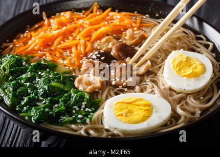 Asian Soba soup with vegetables, mushrooms, egg and sesame seeds close up in a bowl. horizontal - Stock Photo