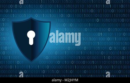 Binary shield Cyber security and data privacy protection shield and lock over binary digits background - Stock Photo