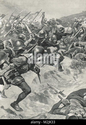 Battle of Homildon Hill, 14 Sept 1402.  English archers relinquishing their bows in favour of attacking a cavalry - Stock Photo