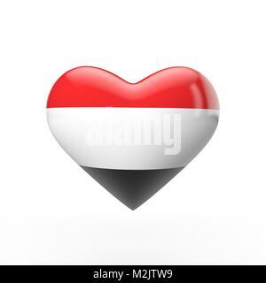 Yemen heart flag. 3D rendering - Stock Photo