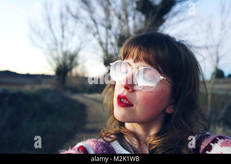 Young woman wearing retro clothes - Stock Photo