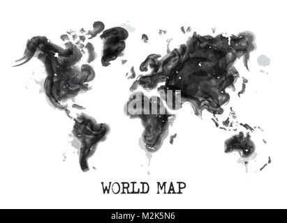 Watercolor world map black and white paint on paper retro style abstract world map painting o white background watercolor painting design of world map environmental pollution concept vector gumiabroncs Images