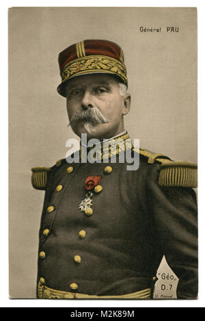 Old French postcard: photo of General Paul Pau commander of the Alsatian army in uniform with the order of the Legion - Stock Photo