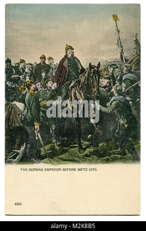 Old English postcard: German Emperor William I, after the siege of Metz, in the Franco-Prussian war of 1870-71, - Stock Photo