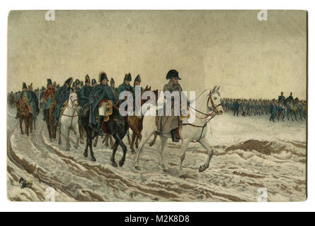 Old postcard: painting 1864 'Campaign in France 1814' French artist Ernest Meissonier, Napoleon and his staff returning - Stock Photo