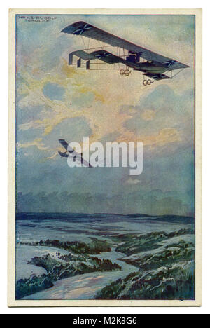 Old German postcard military biplane on a reconnaissance flight over the argon forest. The first world war of 1914 - Stock Photo