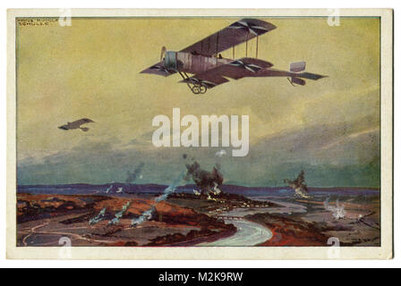 Old German postcard military biplane on a reconnaissance flight on the river Marne. The first world war of 1914 - Stock Photo