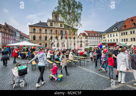 Markt (Market Square), Rathaus (Town Hall) in Weimar, Thuringia, Germany - Stock Photo