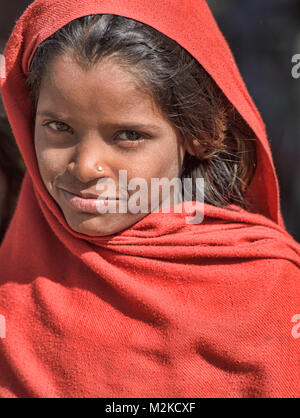 Rajasthani girl, Udaipur, Rajasthan, India - Stock Photo