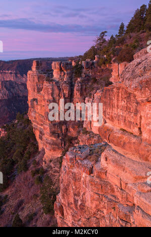 Sunrise over the rim Grand Canyon from Point Imperial in Grand Canyon National Park. Arizona, USA - Stock Photo