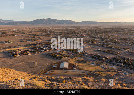 Early morning view of northwest Las Vegas from the top of Lone Mountain in Clark County Nevada. - Stock Photo