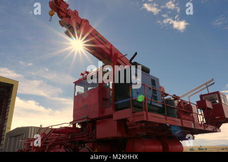 Crane used for positioning radio telescopes at Karl G. Jansky Very Large Array (VLA) in New Mexico - Stock Photo