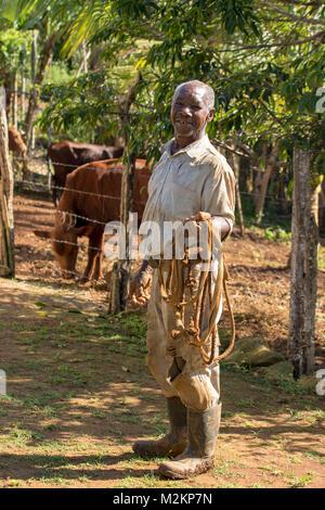 brother 'D' Jamaican third age cowboy, Manchester parish, Jamaica,West Indies, Caribbean - Stock Photo