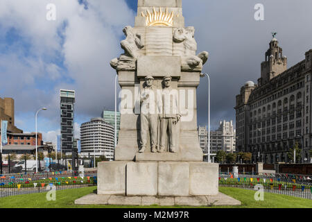 Detail of the Memorial to the Engine Room Heroes of the Titanic in Liverpool, Merseyside, UK - Stock Photo