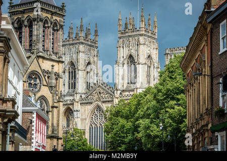 Positioned centrally the cathedral of York Minster soars into the skies over the City of York, Yorkshire, United - Stock Photo