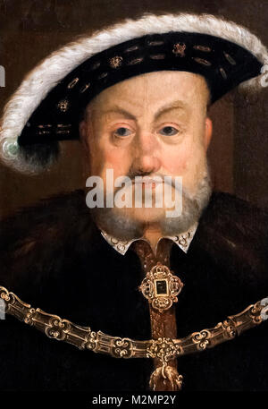 Henry VIII. Portrait of King Henry VIII, after Hans Holbein the Younger, oil on panel, c.1536-37 - Stock Photo