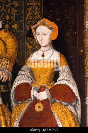 Jane Seymour (1508-1537), third wife of King Henry VIII of England. Detail of a painting entitled The Family of - Stock Photo