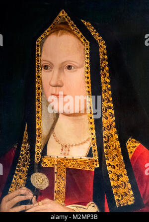 Elizabeth of York (1466-1503). Portrait of wife of King Henry VII and mother of King Henry VIII, unknown artist, - Stock Photo