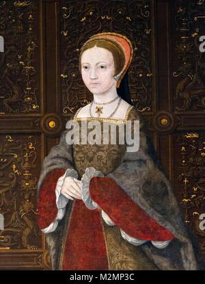 Elizabeth I. Portrait of the future Queen Elizabeth I (1533-1603) as Princess Elizabeth at the age of 12. Detail - Stock Photo