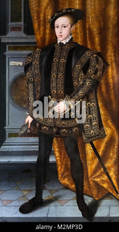 Edward VI. Portrait of King Edward VI of England (1537-1553), oil on panel, attributed to Willam Scrots (Stretes), - Stock Photo