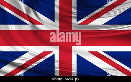 National waving flag of UK flag of the United Kingdom aka Union Jack on a silk drape - Stock Photo