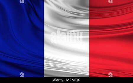 National waving flag of France on a silk drape - Stock Photo