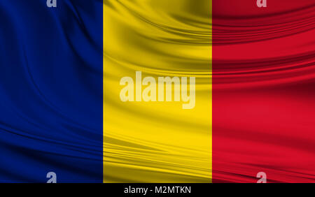 National waving flag of Chad on a silk drape - Stock Photo