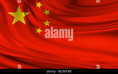 National waving flag of China on a silk drape - Stock Photo