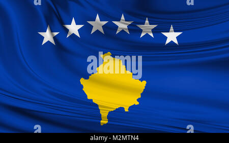 National waving flag of Kosovo on a silk drape - Stock Photo