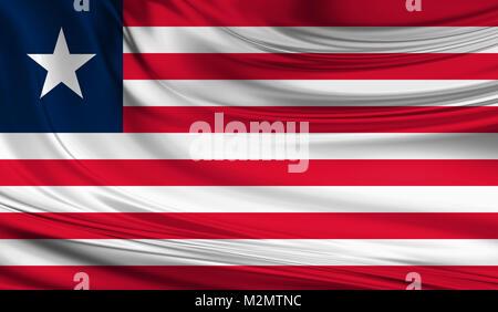 National waving flag of Liberia on a silk drape - Stock Photo