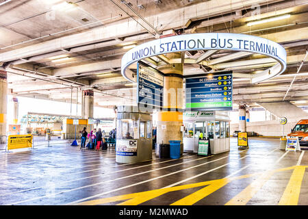 Washington DC, USA - October 27, 2017: Inside Union Station parking garage for buses in capital city with closeup - Stock Photo