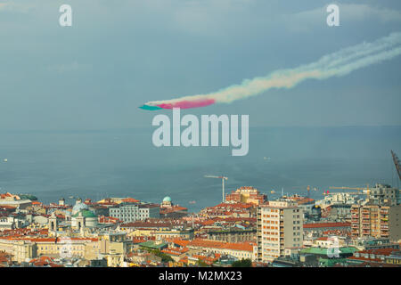 Trieste, Italy - October, 4 2017: Airshow Training of PAN Frecce Tricolori -Tricolour Arrows. Flight patrol during - Stock Photo